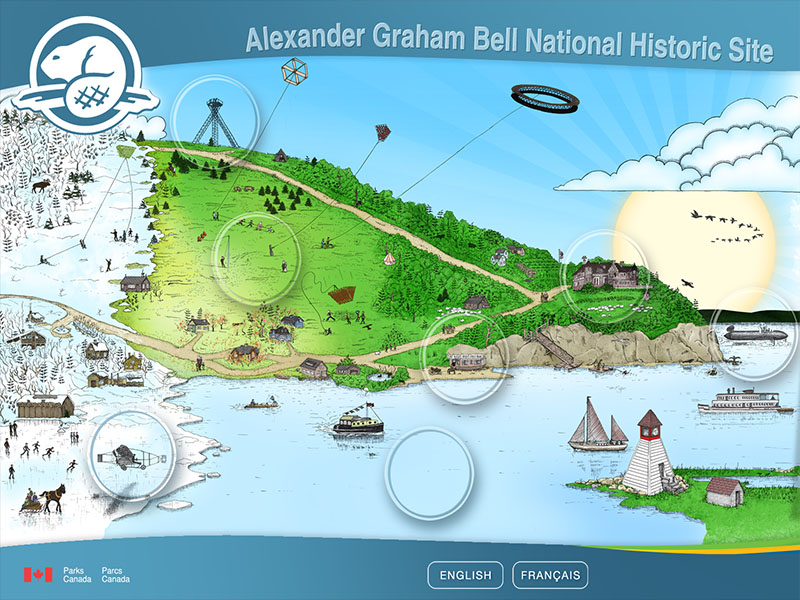 Parks Canada, Alexander Graham Bell National Historic Site - Interactive kiosk – map of Baddeck area