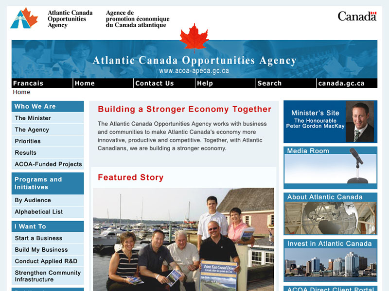 Atlantic Canada Opportunities Agency - Website strategy, navigation, and layout