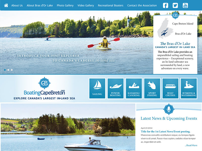 Boating Cape Breton - Website strategy, design, programming, SEO