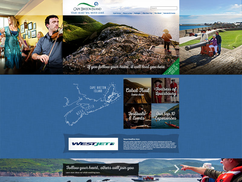 Destination Cape Breton - Website strategy, programming, SEO